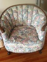 Antique barrel Chair and couch