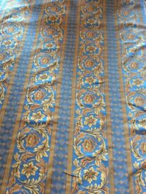 Two coordinating fabrics. Blue/gold