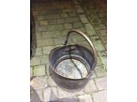 Vintage brass coal bucket with carrying handle needs good clean !