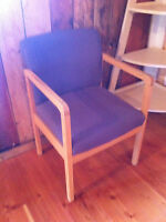 Casual Chair with wood frame and fabric seat/back.