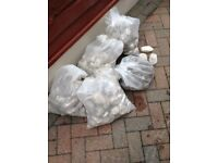 5 bags of large white pebbles (used )