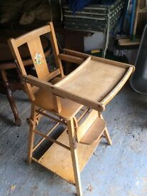 Vintage/retro 1950s wooden baby high/low chair