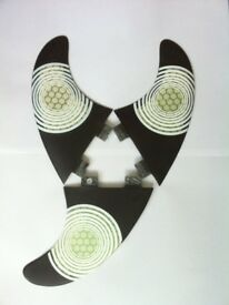 SURFBOARD FINS Carbon/Honeycomb FCS fit Surf Fin, G5/M5 Thruster Set Of3 Hexcore