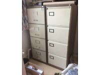 2 large metal Datafax 4 drawer lockable filing cabinets