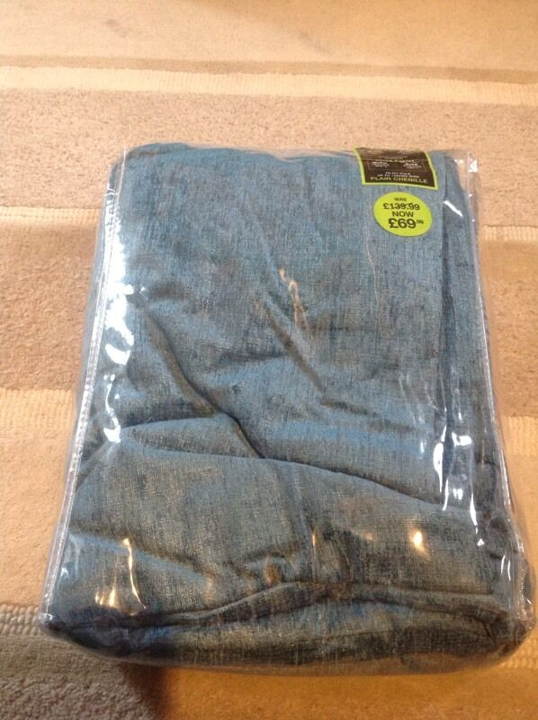 BHS Fully lined eyelet curtains 65'x90' Brand new Blue chenille