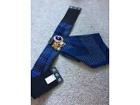 River Island size Small blue fabric waisted belt with vintage brooches.