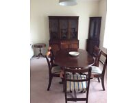 Dark wood solid furniture, table, 6 chairs, dresser and corner unit, and 2 small occasional tables