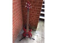 Aria bass guitar , gig bag and strap