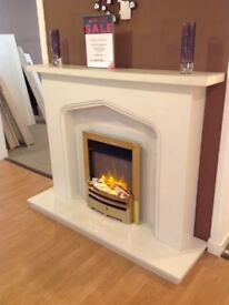 Plain Gothic II Complete Arctic White Micromarble Fireplace