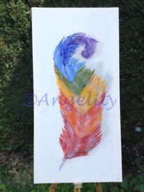 Angel Rainbow Feather Painting