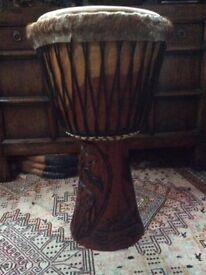 Hand carved African wooden bongo