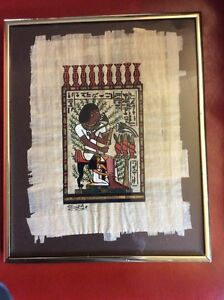 Two Egyptian style papyrus pictures.