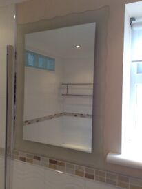 Large mirror for sale 55 X 75 cm with decorative frosted edging