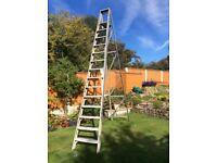 Aluminium step ladders 4.3 metres long.