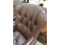 Two Matching Small Leather Club Chairs