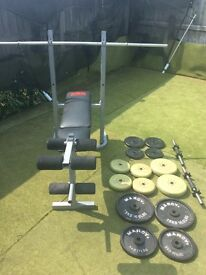 Weights bench and weights and 60 kg metal/plastic
