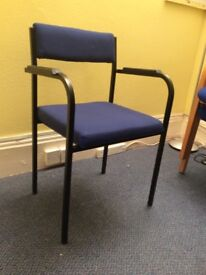 Stackable chair blue waiting room dining