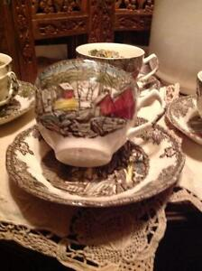 JOHNSON BROTHER'S TEA CUP & SAUCER SET A FRIENDLY VILLAGE SCENE