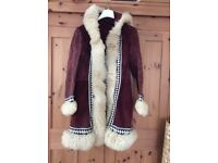 Vintage sheepskin coat with hood