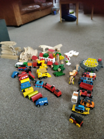 Wooden train set with Hape and brio trains