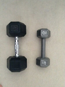 SELLING TWO 20LB DUMBELLS AND TWO 10LB DUMBELLS