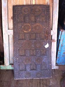 ANTIQUE TIBETAN DOOR - BRONZE & TEAK