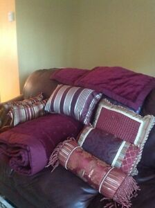 Queen bed quilt set in a rich burgundy colour