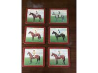 6 Horse and Jockey Dining Mats
