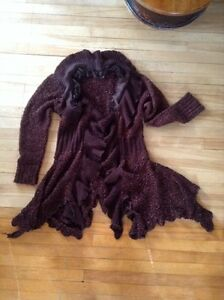 Large copper & brown open sweater - 10$