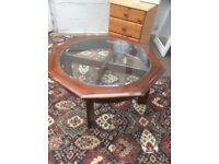 Old glass table