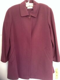 Eastex dusty rose fully lined knee length wool coat, size 16