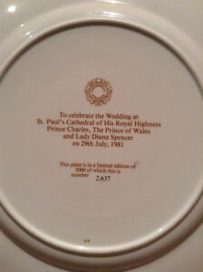Royal Wedding: Prince Charles and Lady Di Plate -Limited edition Kitchener / Waterloo Kitchener Area image 2