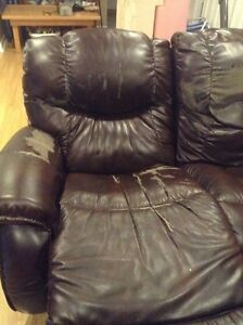 la-z-boy leather couch sofa and chair