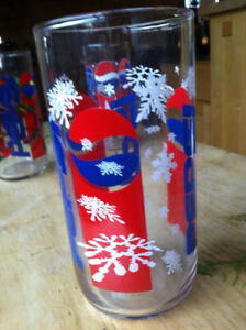 Vintage Pepsi Christmas Winter Holiday Glass - Snowflakes