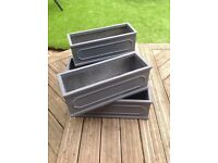 Modern grey fibrecotta trough planters