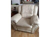 Cream full reclining leather armchair
