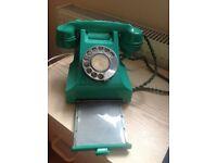 Rare, vintage, jade green Bakelite telephone 332 - genuine GPO, British Telecom, BT