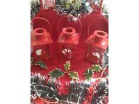 Set Of 3 Red Xmas Lantern Tea Light Holders