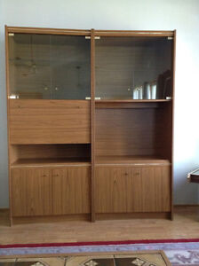 Retro Wall units with glass doors and back lights