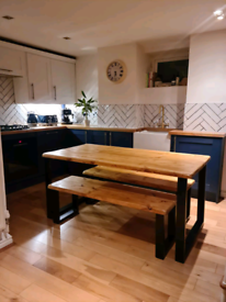 Bespoke dining tables and benches made using reclaimed timber