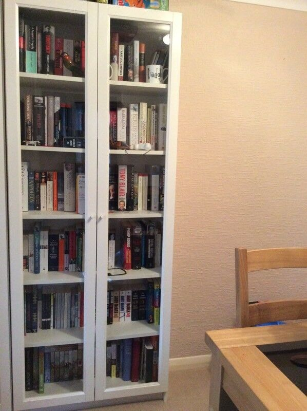 White Ikea Billy Bookcase With Glass Doors In Garforth West Yorkshire Gumtree