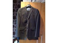 Burtons mens black and grey pinstripe suit