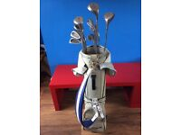 Set Of Golf Clubs In Vintage Titleist Bag With Accessories