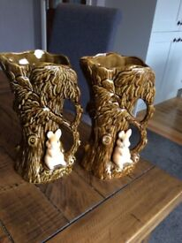 Sylvac 4242 pair of vintage woodland flower vases