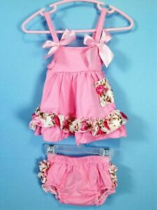 2pc baby summer dress & ruffle bloomers/diaper cover set 6-12m
