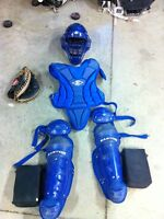 Easton catchers equipment with Rawlings catcher glove