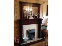 Victorian Style Full Barley Twist Wooden Fireplace Surround & Over Mantel