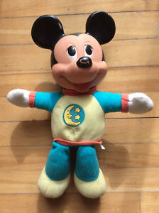 Vintage Disney Mickey Mouse Plush Doll, Plastic Face Lights Up,