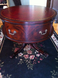 ANTIQUE English Mahogany Rotating Drum Table Ox Blood Leather