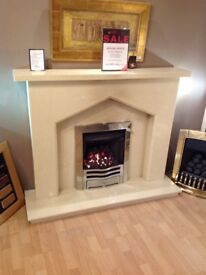 Plain Gothic Cream Micromarble Fireplace